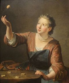 """An oil on canvas painting of a girl play knucklebones by Jean-Baptiste-Siméon Chardin. The painting is titled """"The Game of Knucklebones (Les Osselets)"""" and was painted in 1734.  Source     Baltimore Museum of Art (The Mary Frick Jacobs Collection, BMA 1938.193)"""