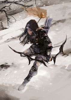 Elf archer battles in the snow field by ccccccccco on DeviantArt - Elven ranger on the chase by ccccccccco on DeviantArt - Fantasy Character Design, Character Design Inspiration, Character Concept, Character Art, Fantasy Warrior, Fantasy Rpg, Fantasy Artwork, Dnd Characters, Fantasy Characters