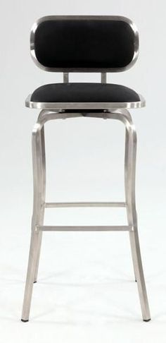 Chintaly 1192-BS-BLK Modern Swivel Bar Stool