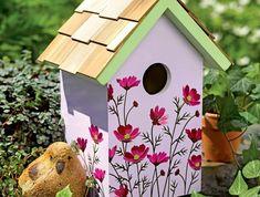 gartendeko-aus-holz-Deko-Vogelhaus-Blumen