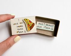 "Pizza Love Card/ Funny Card for Pizza Lovers/ Friendship Card for Foodies / Food Card/ ""I love you more than Pizza"""