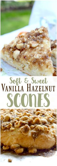 Vanilla Hazelnut Scones Looking for a scone recipe? These vanilla hazelnut scones are soft, sweet, and pair perfectly with a hot cup of coffee! Because they don't have heavy cream, they are also lighter than traditional scones. No Bake Desserts, Dessert Recipes, Scone Recipes, Health Desserts, Tea Recipes, Sweet Desserts, Easy Desserts, Delicious Desserts, Lorraine