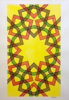 #Islamic #arabic #geometry #symmetry #pattern #watercolor #aquarelle #tessellation #handmade #Escher #mcescher #mathart #artorart #mandalala #mandala #star #regolo54