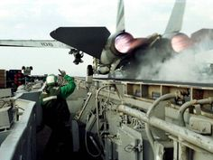 F-14 Aircraft Carrier Launch from a unique perspective