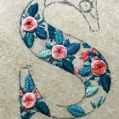Wonderful Ribbon Embroidery Flowers by Hand Ideas. Enchanting Ribbon Embroidery Flowers by Hand Ideas. Embroidery Alphabet, Embroidery Monogram, Hand Embroidery Stitches, Embroidery Needles, Silk Ribbon Embroidery, Crewel Embroidery, Hand Embroidery Designs, Embroidery Techniques, Cross Stitch Embroidery