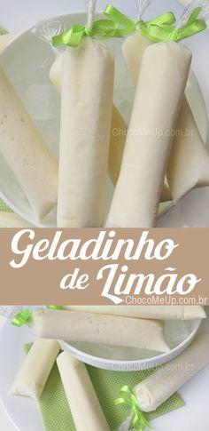 Receita de Geladinho de Limão, sacolé, gelinho, chup-chup, dindim, não importa o nome... é um sorvete de limão, é uma delícia e super fácil de fazer! Você pode usar o suco da fruta que quiser: Maracujá, Morango, Uva, você escolhe #receita #sorvete #limão #receitadesorvete #geladinho #gelinho #sacolé #chup-chup #dindim #chupchup #sobremesa #doce #receitafácil #receitarápida