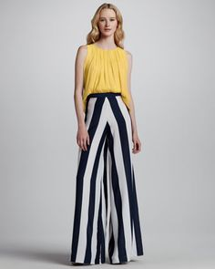 Gathered Tank & Super-Flare Striped Wide-Leg Pants by Alice + Olivia at Neiman Marcus.