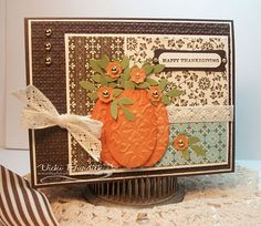 handmade Thanksgiving card ... brown, orange, vanilla and plale blue ...luv the paper punch art pump with embossing folder texture,  contour inking and wee punched flowers and leaves inside ... crochet ribbon ... small print papers ... Stampin' Up!