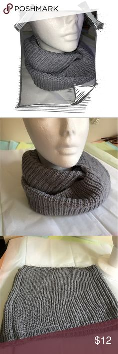 INFINITY SCARF 24 X 9 1/2 Infinity scarf. 100% acrylic. Grey. Keep warm in the fall and winter. Wear around your neck or your head and neck. Accessories Scarves & Wraps