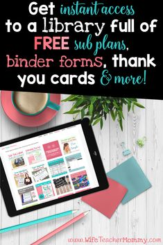 Free sub plans & more! Get instant access to our free teacher resource library with free sub plans, free sub binder forms, free substitute thank you cards, and more! #teacherfreebies #subplanswife