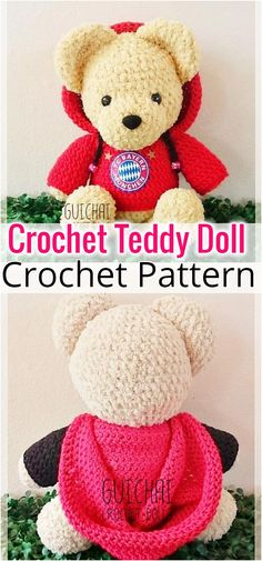 I have rounded up a huge list of free crochet teddy bear patterns for you to get inspired by these cute and soft teddy bears. You could absolutely make them with your own crochet hooks Crochet Teddy Bear Pattern, Animal Knitting Patterns, Crochet Dolls Free Patterns, Crochet Doll Pattern, Crochet Bunny, Crochet Baby Hats, Stuffed Animal Patterns, Amigurumi Patterns, Stuffed Animals