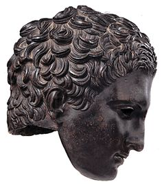 bronze head of a young athlete, Roman Imperial, circa late 1st Century B.C./1st Century A.D