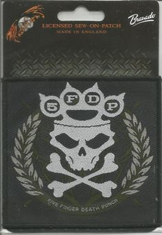FIVE FINGER DEATH PUNCH Knuckle Crossbones Woven Patch Sew On Official Merch
