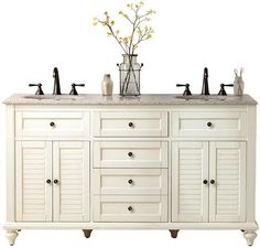 """$1,099 60"""" Hamilton Shutter Double Vanity in white, including granite countertop - VERY HIGHLY RATED AMONG 50+ REVIEWERS"""