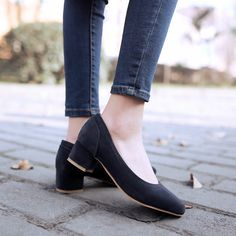 Round Toe Womens Pumps Thick Heels Big Size Shoes