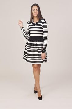 894e4f9bd8f This Black   White Stripe Fit   Flare Dress by Tantra is perfect!
