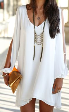 White chiffon v-neck A-line long sleeve dress