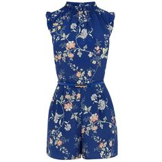 Oasis Sashiko Floral Playsuit ($52) ❤ liked on Polyvore featuring jumpsuits, rompers, skinny belt, ruffle rompers, blue romper, floral rompers and floral print romper