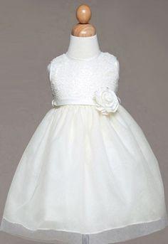 Infant Ivory Embroided Flower Girl Dress - Flower Girl Dresses