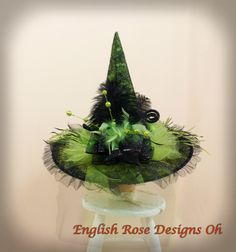 Green Witch Hat * Spider Witch Hat * Wicked Witch Hat * Elegant Witch Hat * Halloween Decor * Witch Halloween * Witch Costume by englishrosedesignsoh on Etsy