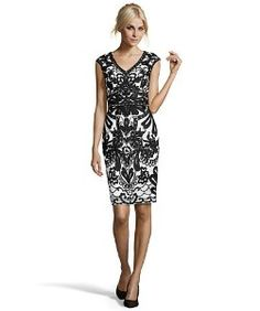 Sue Wongwhite and black floral embroidered tulle sheath dress