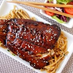 Grilled Cod Teriyaki...google translate the page - to make healthier substitute honey for brown sugar.