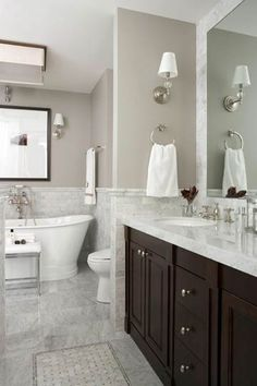 Before & After Bathrooms: Traditional baths I love marble counters on a dark vanity and a deeeeeep soaker tub… aahhh… - Marble Bathroom Dreams Dream Bathrooms, Beautiful Bathrooms, Small Bathroom, White Bathrooms, Bathroom Ideas, Bathroom Remodeling, Bathroom Vanities, Bathroom Cabinets, Bathroom Organization