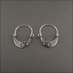 Crescent Branch Sterling Silver Hoop Earrings