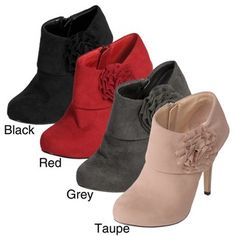 @Overstock - These booties from Glaze by Adi feature a decorative rosette accent at the ankle. This footwear boasts a soft microsuede upper.http://www.overstock.com/Clothing-Shoes/Glaze-by-Adi-Womens-Rosette-High-Heel-Bootie/5171478/product.html?CID=214117 $34.49