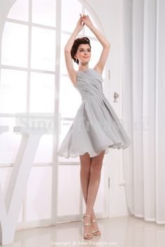 Silver Short Pleats Chiffon Over Satin A-Line Bateau Bridesmaid Dress... A compromise instead of champagne?
