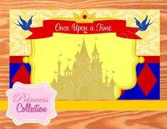 Red Princess Party - BACKDROP -Blue Princess Party
