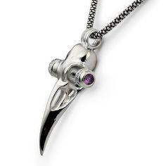 Raven skull pendant. Encrusted with Swarovski cubic zirconia and genuine amethyst stones.