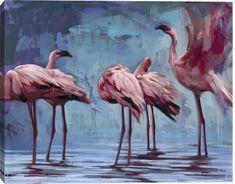 Flamingos Gather by Katherine Fraser