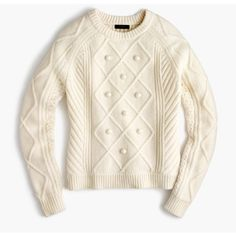 J.Crew Cable Pom-Pom Sweater (1.601.990 IDR) ❤ liked on Polyvore featuring tops, sweaters, white cable sweater, pom pom sweaters, white cable knit sweater, merino wool tops and cable knit sweater