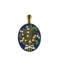 A mid 19th century enamel and half-pearl locket pendant  -  The oval locket decorated to the front with royal blue enamel applied with a green enamel and half-pearl lily of the valley bouquet tied with a white enamel ribbon, opening to reveal two glazed compartments, circa 1855.