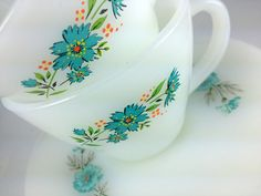 Vintage Fire King Cup and Saucers.  This was my first  set of dishes in 1965.  My mother and I got a piece or two every week at the grocery store.....it was one of those store promotions,