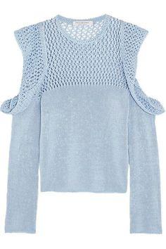 Philosophy di Lorenzo Serafini - Cutout Open-knit Cotton Sweater - Blue - IT48
