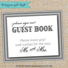 Guest Book Sign PDF // Wedding Guest Book // Printable Sign by PrimroseAndPark