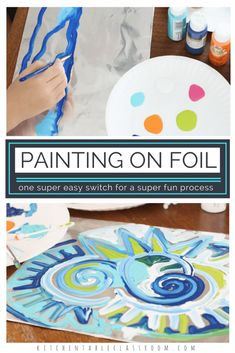 Foil painting just requires an easy little switch. Foil instead of paper means a new painting surface; a slippery, reflective surface that's extra fun to paint on. This process art activity uses household staples for lots of opportunities for creative sensory fun.