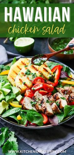 One of the best summer salads! This Hawaiian Chicken Salad with Coriander-Lime Vinaigrette is marinated chicken served with piles of fresh vegetables, grilled pineapple and a deliciously zingy vinaigrette. #hawaiianchickensalad #saladrecipes #summerrecipes Best Summer Salads, Summer Recipes, Pinterest Salads, Hawaiian Chicken Salad, Different Salads, Lime Vinaigrette, Marinated Chicken, Healthy Salads, Fresh Vegetables