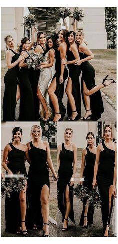 One Shoulder Bridesmaid Dresses, Black Bridesmaids, Bridesmaids And Groomsmen, Wedding Bridesmaid Dresses, Long Black Bridesmaid Dresses, Hoco Dresses, Formal Dresses, Black And White Wedding Theme, Black Tie Wedding