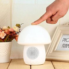 Bluetooth Wireless Speaker 3W Output HD Bass 40mm Dual Driver , Multicolor Silicone Mushroom Lamp iPhone Android Wireless Portable Speaker, LED Night Light for Bedroom Baby Room Yoga Usage, Music Timer, Speakerphone, (White) - Brought to you by Avarsha.com