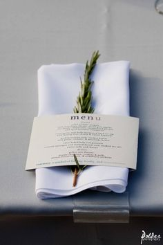 I LOVE THIS SO VERY CLASSY.. I HAVE A GORGEOUS  ROSEMARY AT MY HOUSE .I  WILL DO THIS AT A DINNER PARTY..i <3<3 THIS!!! fresh herb, napkin menu wrap Franciscan Gardens, Polder Photography www.agoodaffair.com