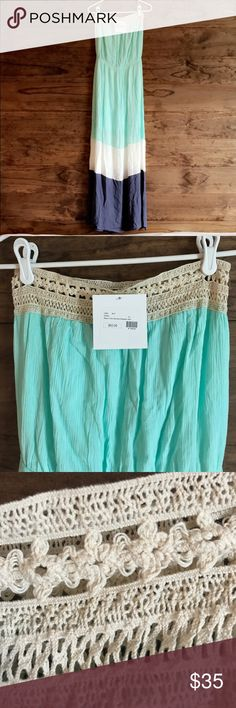 😍 Entro NWT Maxi Dress SZ L Mint condition. Strapless Centro Dress. Mint green, white, and blue with embroidered top. Super cute and comfy. Entro Dresses Maxi