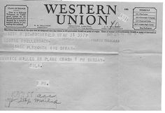 Western Union telegram notice of death