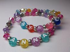 Personalized name bracelet girls beaded name by Sellingitforyou