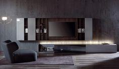 Colección de muebles colgantes. La composición del sistema esta dada por la libre yuxtaposición , vertical o horizontal, de elementos colgantes de la..