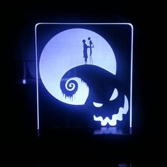 Nightmare Before Christmas Jack and Sally LED acrylic display sign by HeroLights on Etsy