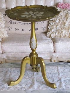 Gorgeous Vintage Gold ITALIAN FLORENTINE Pedestal TABLE, Shabby Chic, French Style, Stacy's Shabby Shoppe