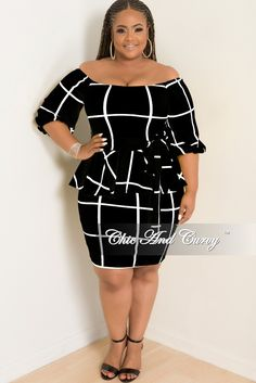 981b481553322 Plus Size Off the Shoulder Peplum BodyCon Dress with Attached Tie – Chic  And Curvy